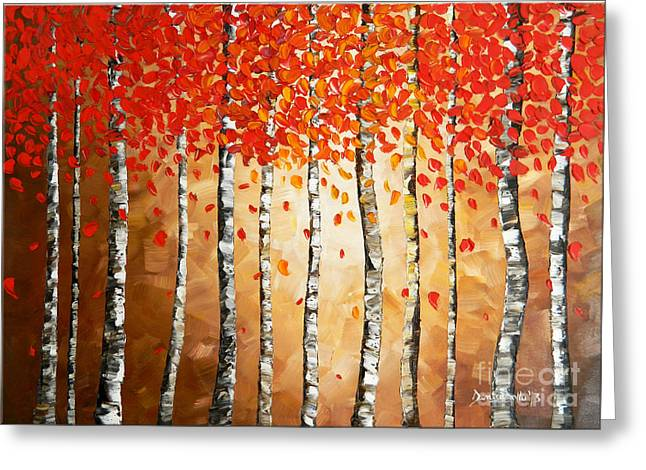 Stretched Cotton Canvas Greeting Cards - Rich Trees Greeting Card by Denisa Laura Doltu