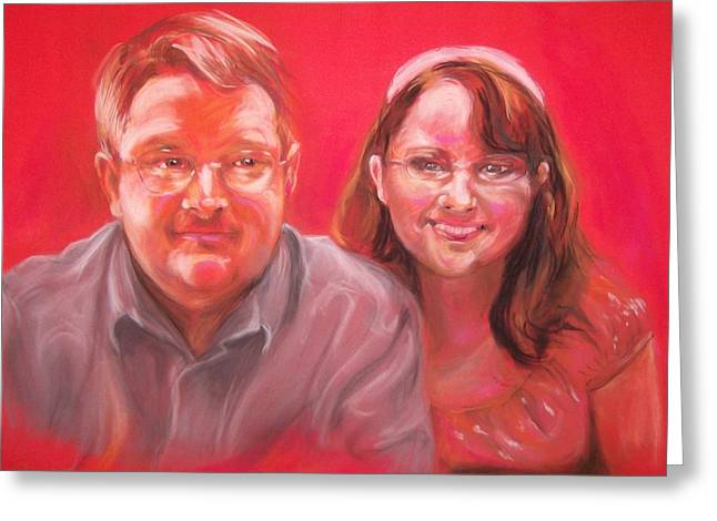 Together Pastels Greeting Cards - Richard and Lori Greeting Card by Martha Suhocke