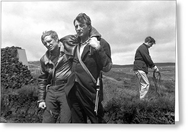 1950s Movies Greeting Cards - Richard Harris and Robert Mitchum filming The Night Fighters in Ireland Greeting Card by Irish Photo Archive