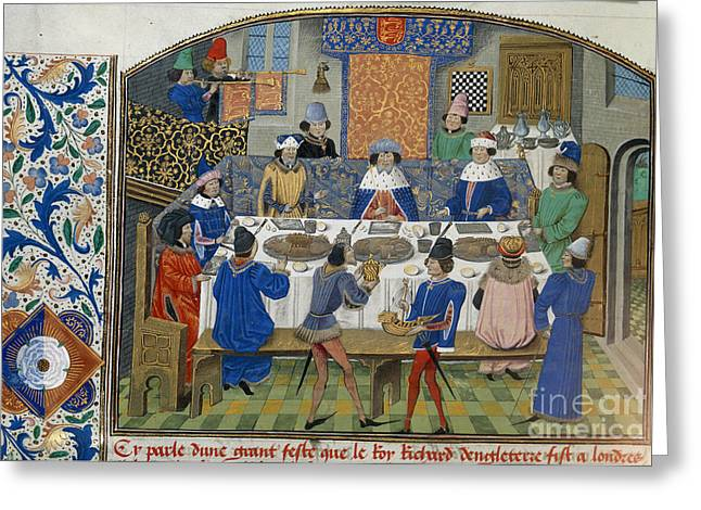Banquet Greeting Cards - Richard Ii Dines With Dukes Greeting Card by British Library