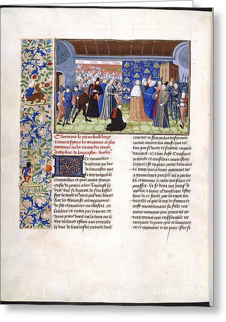 Written French Greeting Cards - Richard Ii Yields The Crown Greeting Card by British Library