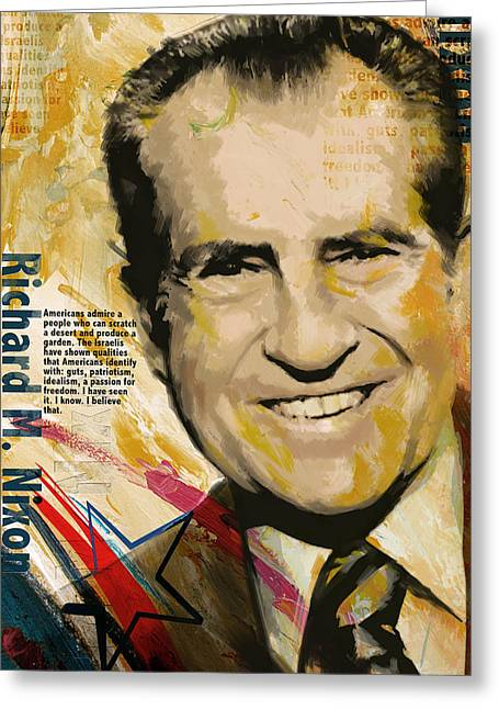 Garfield Greeting Cards - Richard Nixon Greeting Card by Corporate Art Task Force