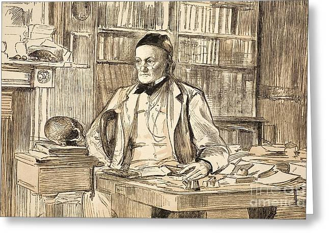 Moa Greeting Cards - Richard Owen In His Study, 1883 Greeting Card by Paul D. Stewart