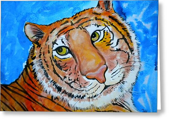 Loose Mixed Media Greeting Cards - Richard Parker Greeting Card by Debi Starr