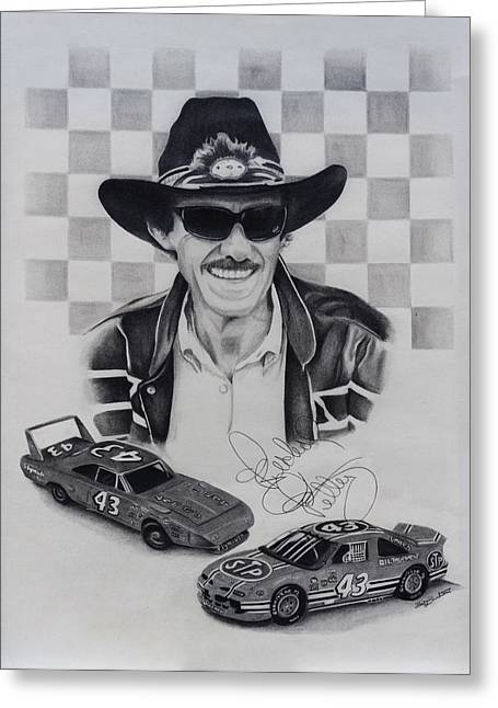 Championship Drawings Greeting Cards - Richard Petty Greeting Card by Billy Burdette