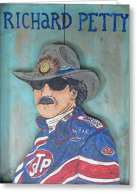 Intuited Greeting Cards - Richard Petty Greeting Card by Eric Cunningham