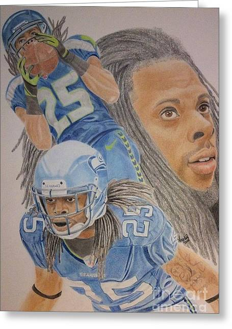 Pro Football Drawings Greeting Cards - Richard Sherman Collage Greeting Card by Angela Q