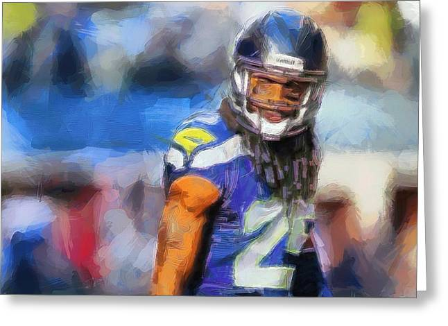 Win Greeting Cards - Richard Sherman Seattle Seahawks Greeting Card by Dan Sproul