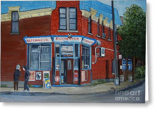 Depanneur Greeting Cards - Richardson Depanneur Pointe St. Charles Greeting Card by Reb Frost