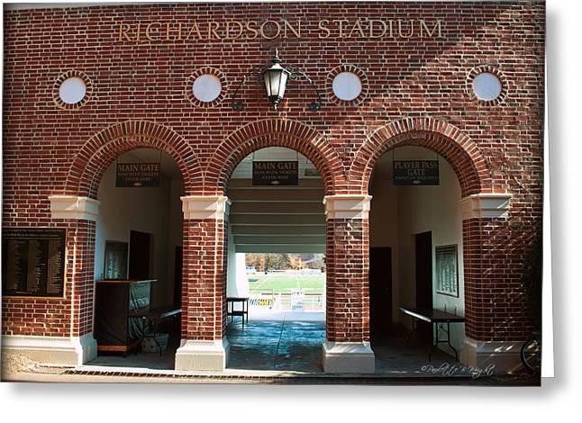 Corporate Elites Greeting Cards - Richardson Stadium Main Gate - Davidson College Greeting Card by Paulette B Wright