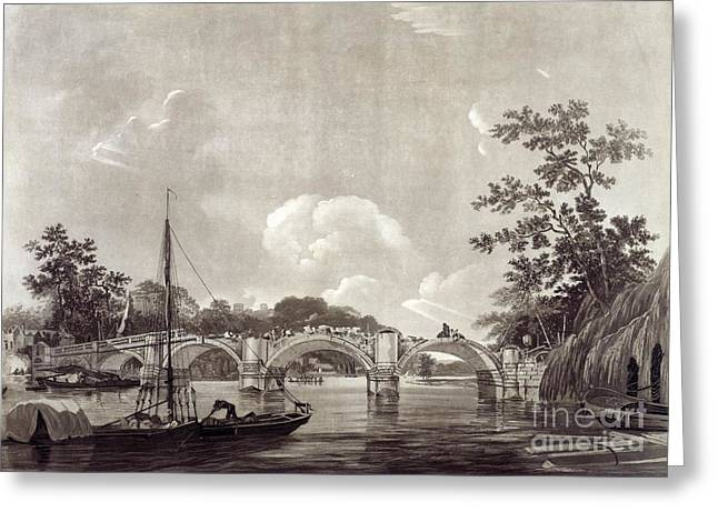 Richmond Bridge Greeting Cards - Richmond Bridge, 18th Century Artwork Greeting Card by British Library