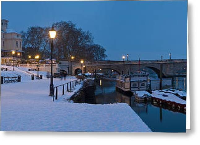 Richmond Bridge Greeting Cards - Richmond Bridge In Winter, Thames Greeting Card by Panoramic Images