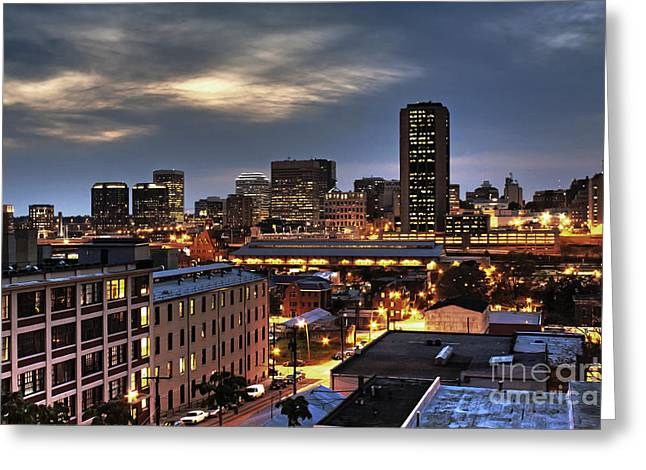 Hdr Greeting Cards - Richmond Skyline At Night Greeting Card by Tim Wilson