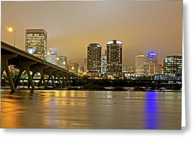 Richmond Virginia From The James River At Night Greeting Card by Brendan Reals