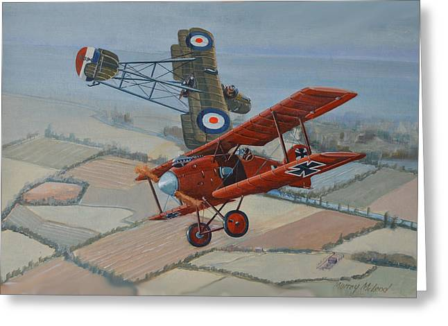 Murray Mcleod Paintings Greeting Cards - Richtofen and Hawker Combat Greeting Card by Murray McLeod