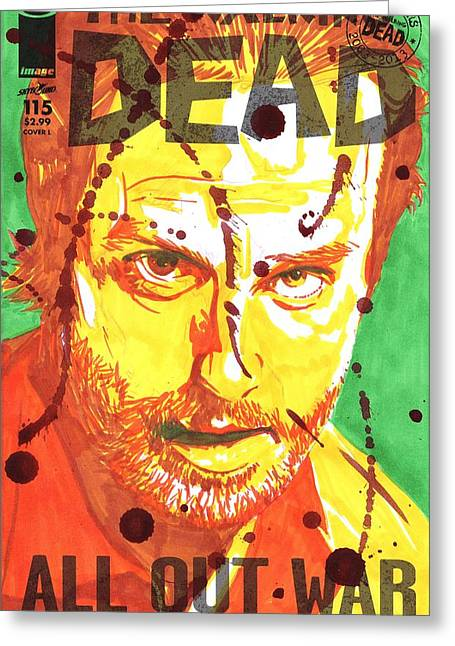 Andrew Michael Greeting Cards - Rick Grimes Greeting Card by Kyle Willis