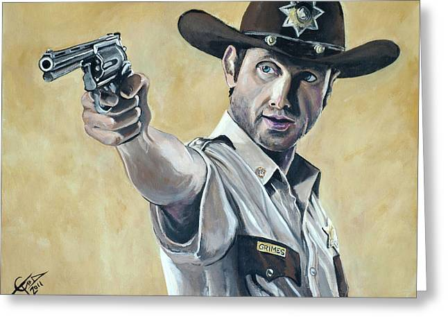 Grime Greeting Cards - Rick Grimes Greeting Card by Tom Carlton