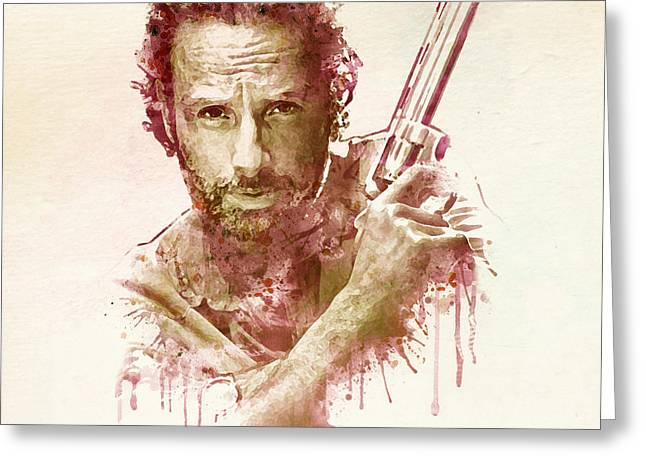 Police Mixed Media Greeting Cards - Rick Grimes watercolor Greeting Card by Marian Voicu