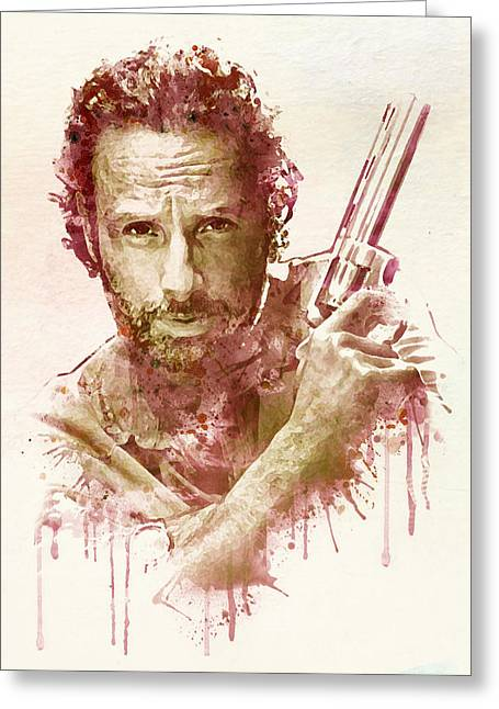Rick Grimes Watercolor Greeting Card by Marian Voicu