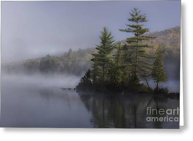 Groton Greeting Cards - Rickers Pond - Misty Morning Greeting Card by Thomas Schoeller