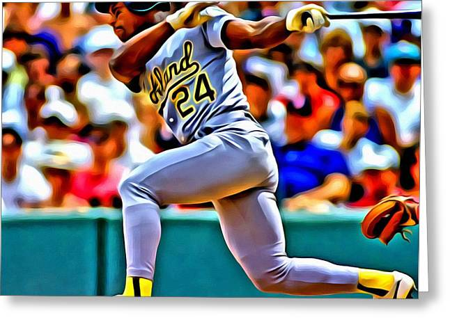 Oakland Athletics Greeting Cards - Rickey Henderson Greeting Card by Florian Rodarte