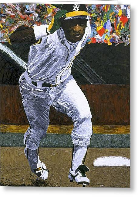 Oakland Athletics Greeting Cards - Rickey Henderson Greeting Card by Mike Rabe