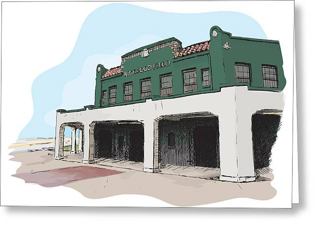 Baseball Parks Drawings Greeting Cards - Rickwood Field Greeting Card by Greg Smith