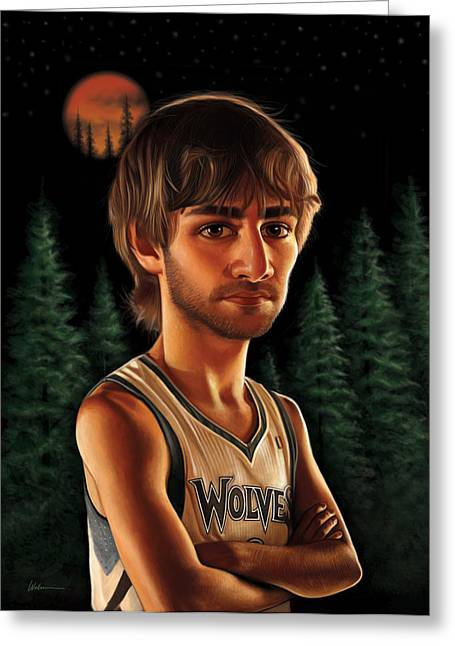 Kevin Garnett Art Greeting Cards - Ricky Rubio Greeting Card by Derek Wehrwein