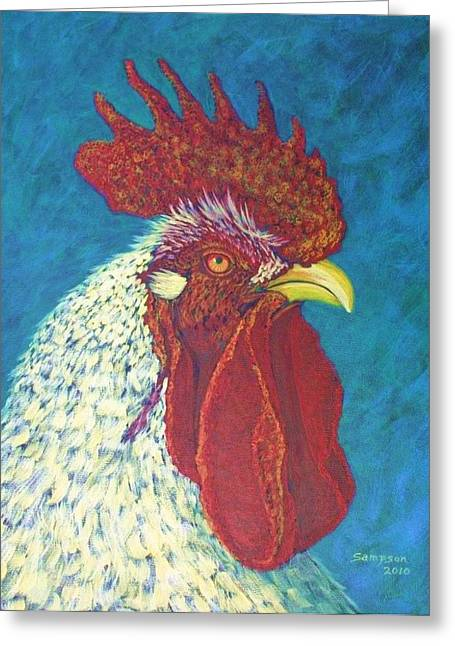 Splashy Paintings Greeting Cards - Ricky the Rooster Greeting Card by Cynthia Sampson