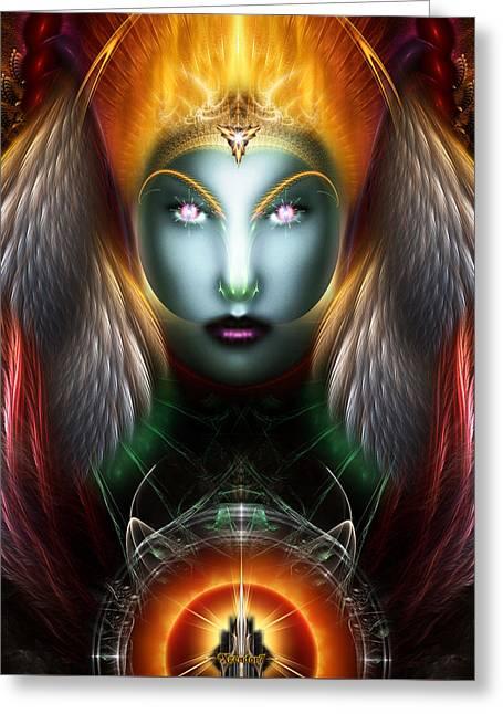 Fractal Orbs Greeting Cards - Riddian Queen Dynasty Of Power Trim Greeting Card by Rolando Burbon