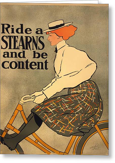 Ladies Bike Greeting Cards - Ride a Stearns and be Content Greeting Card by Mountain Dreams