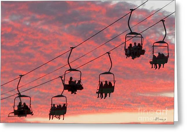 Aerial Tramway Greeting Cards - Ride into the Sunset Greeting Card by Jennie Breeze