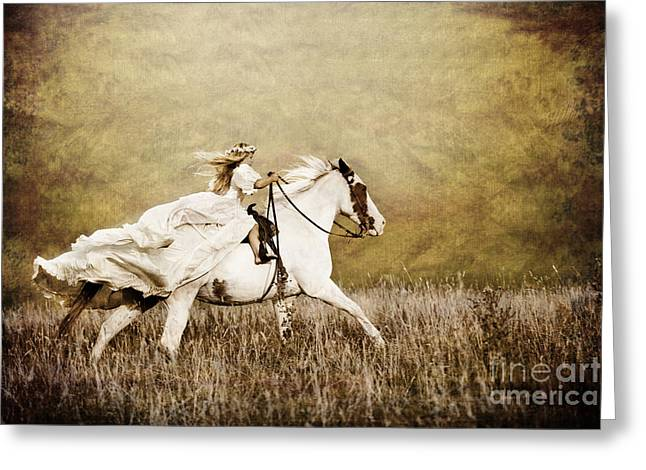 Flowing Blonde Hair Greeting Cards - Ride Like the Wind Greeting Card by Cindy Singleton