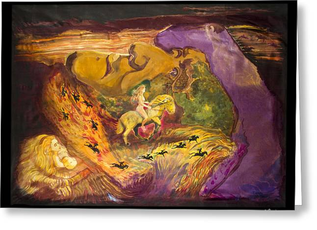 Surrealism Tapestries - Textiles Greeting Cards - Ride of the Valkyries Greeting Card by Nandy King