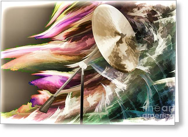 Ride Cymbal Greeting Cards - Ride or Suspended Cymbal Painting in Color 3240.02 Greeting Card by M K  Miller
