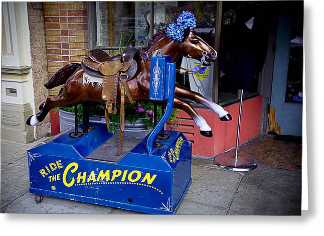 Amusements Greeting Cards - Ride The Champion Greeting Card by Garry Gay