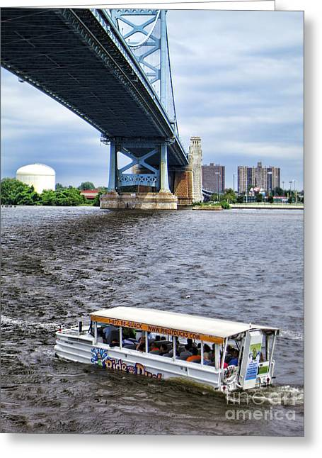 Ben Franklin Bridge Greeting Cards - Ride the Ducks Greeting Card by Olivier Le Queinec