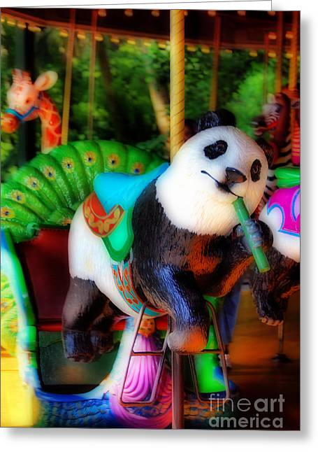 Carnival Glory Greeting Cards - Ride The Panda Greeting Card by Skip Willits