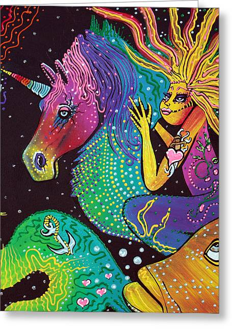 Sea Horse Greeting Cards - Ride The Rainbow Greeting Card by Laura Barbosa