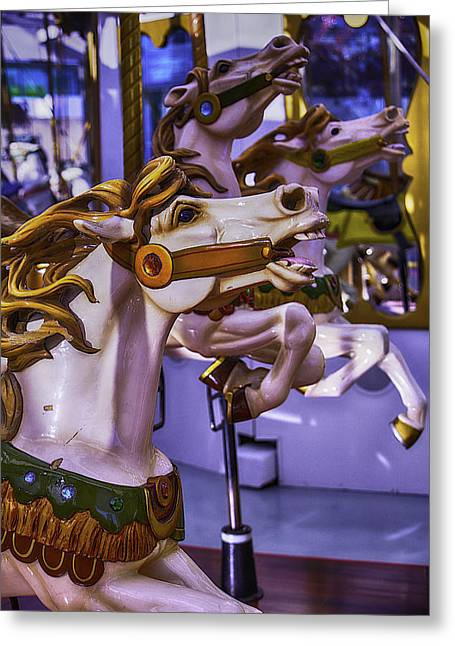 Magical Photographs Greeting Cards - Ride The Wild Carrousel Horses Greeting Card by Garry Gay