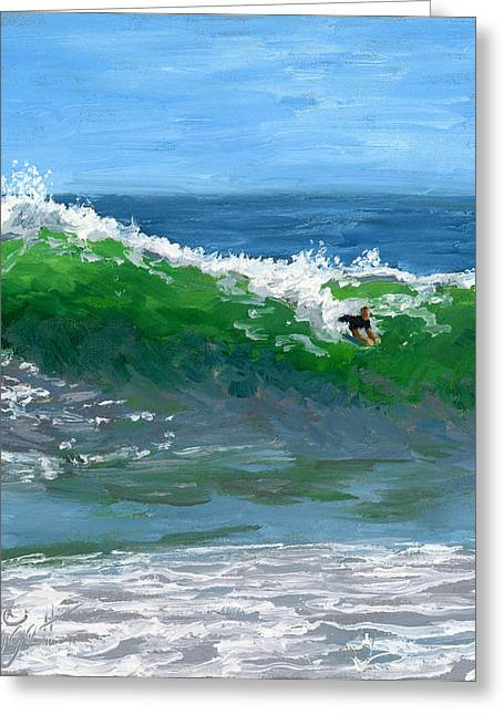 California Big Wave Surf Greeting Cards - Ride the Wild Wedge Greeting Card by Alice Leggett
