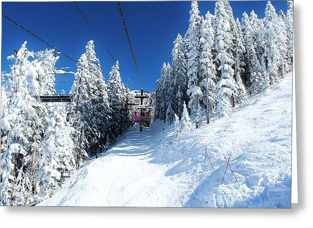 Snowbowl Greeting Cards - Ride to Heaven Greeting Card by Kurt Baker