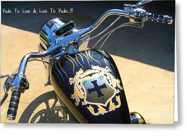 Rally Mixed Media Greeting Cards - Ride To Live  Greeting Card by Phillip Allen