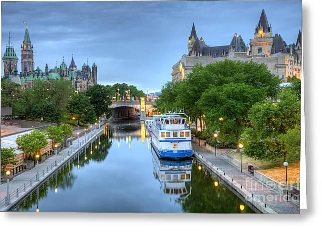 Ottawa Skyline Greeting Cards - Rideau Canal Ottawa Greeting Card by Denis Tangney Jr