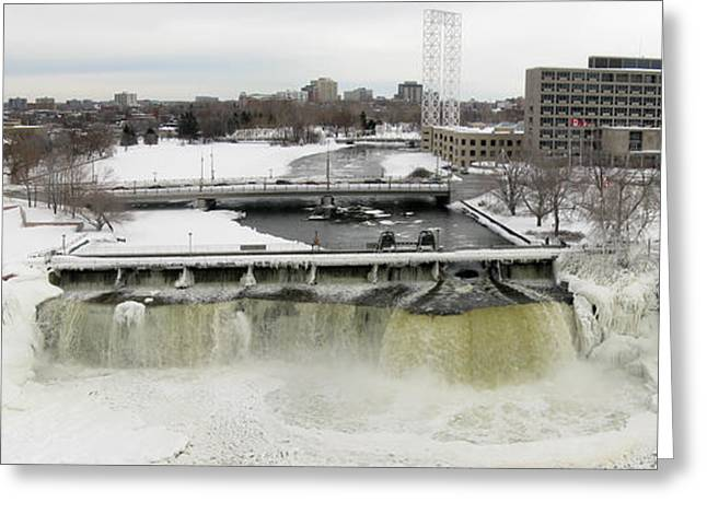 Kite Greeting Cards - Rideau Falls in Winter Greeting Card by Rob Huntley