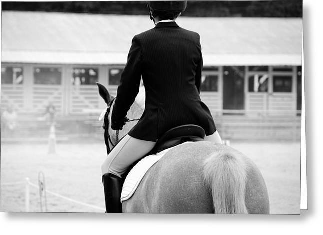 Equestrianism Greeting Cards - Rider in Black and White Greeting Card by Jennifer Lyon