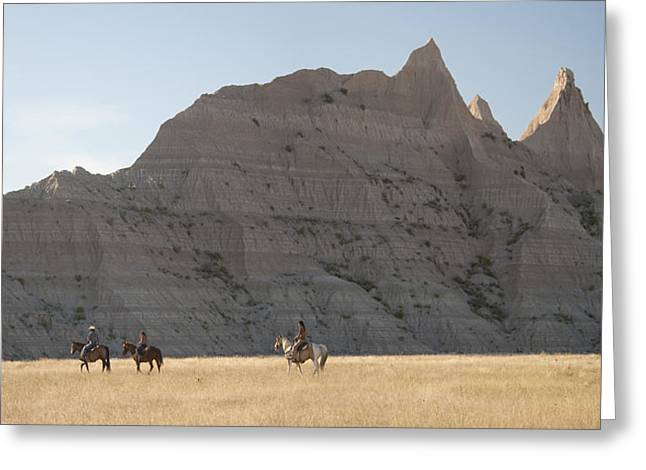 Lakota Greeting Cards - Riders in the Badlands Greeting Card by Christian Heeb