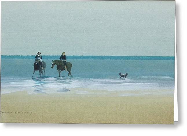 Sea Horse Pastels Greeting Cards - Riders on the beach Greeting Card by Derek williams RBSA FRSA
