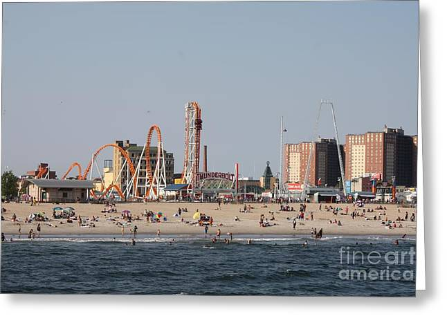 On The Beach Greeting Cards - Coney Island Rides Greeting Card by John Telfer