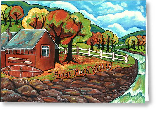 Arkansas Paintings Greeting Cards - Ridge Rock Valley Greeting Card by MarLa Hoover